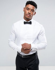 Read more about Asos skinny cutaway collar shirt with pleated placket - white