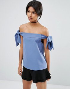 Read more about Asos minimal off shoulder top in crepe with tie sleeve - dusty blue