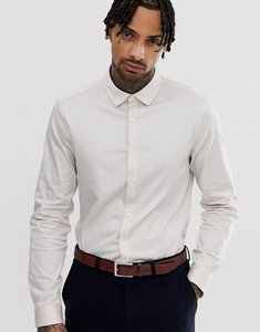 Read more about Asos wedding slim fit sateen shirt in off white - off white
