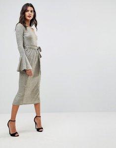 Read more about Lavish alice one shoulder rib knit paperbag waist midi dress - gold