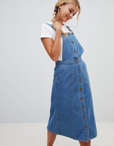 Read more about Urban bliss button through pinafore midi denim dress - midwash blue