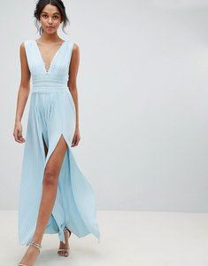Read more about Asos design premium lace insert pleated maxi dress - blue