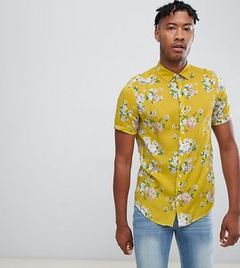 Read more about Asos design tall regular fit floral shirt in mustard - yellow