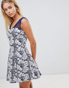 Read more about Qed london floral skater dress with mesh insert - navy eclipse