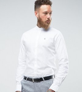 Read more about Noose monkey skinny grandad collar oxford shirt - white