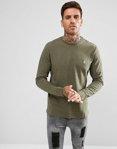 Read more about Original penguin long sleeve top pique logo in green marl - forest night hthr