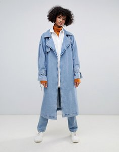Read more about Weekday limited collection denim oversized trench coat - washed blue