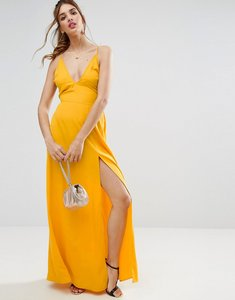 Read more about Asos plunge strap back maxi dress - orange