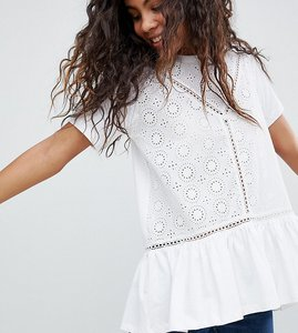 Read more about Asos design tall smock t-shirt with broderie and frill hem - white