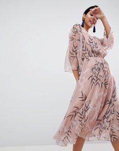 Read more about Liquorish leaf printed midi dress - pink