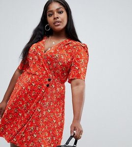 Read more about Asos design curve ditsy print plisse mini dress with button detail - multi