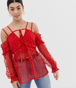Read more about Lost ink petite cold shoulder strappy crop top with floral lace overlay - red