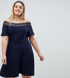 Read more about Lovedrobe lace trim bardot skater dress - navy