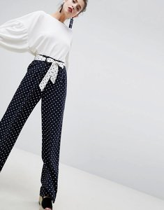 Read more about Stradivarius spot print soft trousers - navy