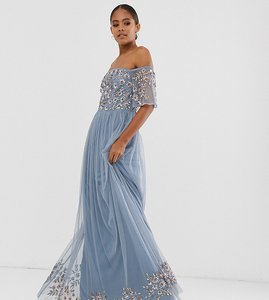 Read more about Maya tall embellished bodice bardot maxi dress in dusty blue