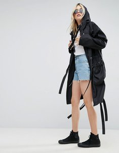Read more about Asos rain parka with side eyelet detail - black
