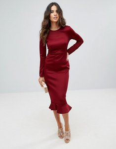 Read more about Club l office long sleeve detailed dress with peplum frill hem bodycon midi dress - berry