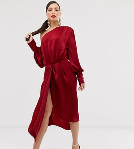 Read more about Asos design tall one shoulder blouson midi dress in washed satin