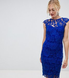 Read more about Paper dolls tall midi lace dress with scalloped plunge back in bright blue - bright blue