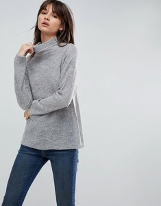 Read more about Asos jumper with high neck in mohair blend - grey