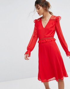 Read more about Elise ryan midi skater dress with lace frill trim - red