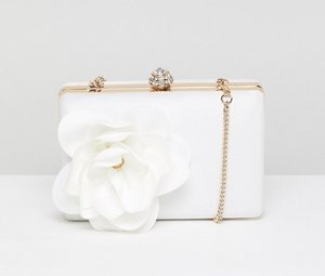 Read more about Forever new bridal satin box clutch with floral trim - ivory