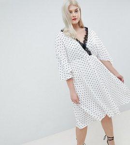 Read more about Asos design curve spot lace trim kimono midi dress - mono