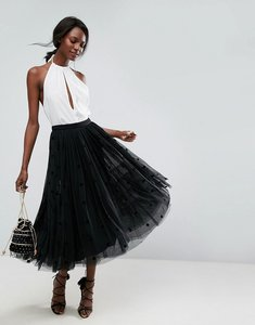 Read more about Asos midi tulle prom skirt with flocked polka dots - black