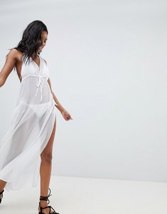 Read more about Brave soul beach halterneck dress with side split detail - white