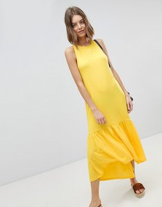 Read more about Asos design maxi dress with racer back and hi lo pep hem - yellow
