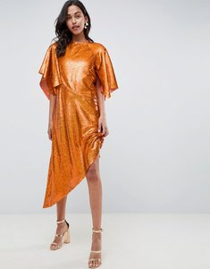 Read more about Asos edition sequin asymmetric midi dress - orange