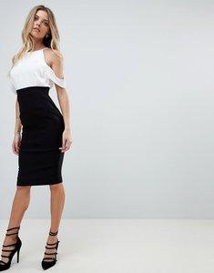 Read more about Vesper cold shoulder pencil dress - monochrome