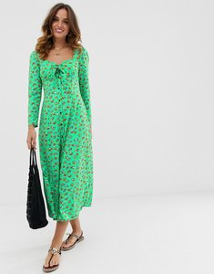 Read more about Asos design button through bow front maxi dress in floral print