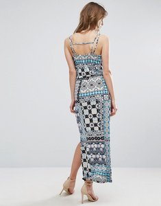 Read more about Warehouse prairie print patchwork maxi dress - multi