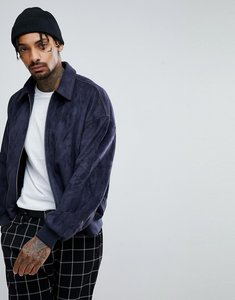 Read more about Asos oversized faux suede harrington jacket in navy - navy