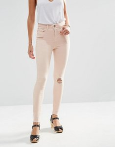 Read more about Asos ridley skinny jeans in petal pink wash with rip and repair - petal pink
