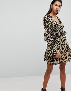 Read more about Neon rose smock dress with frill sleeves in leopard - leopard