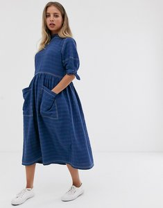 Read more about Asos design textured midi smock dress with tie sleeves