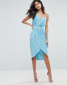 Read more about Asos one shoulder drape bodiced wrap midi dress - blue