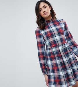 Read more about Noisy may tall erik checked smock dress - red check