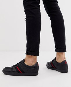 Read more about Polo ralph lauren camilo leather trainer with taping in black