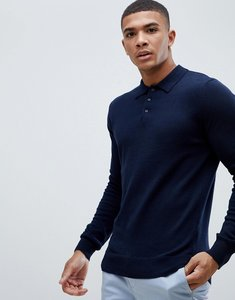 Read more about Brave soul knitted long sleeve polo - navy