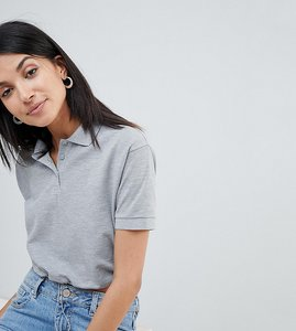 Read more about Asos design tall polo t-shirt with toggle hem in grey - grey marl