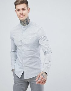 Read more about Asos design stretch slim smart mirco stripe work shirt with grandad collar in - grey