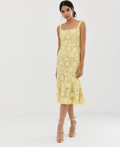 Read more about Jarlo square neck all over lace embroidered midi dress in yellow