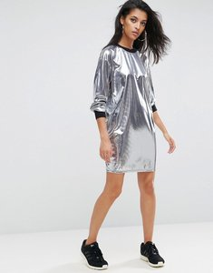 Read more about Asos metallic mini dress with rib trim - silver