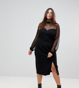 Read more about Asos curve long sleeve dobby mesh sweetheart neck midi dress - black