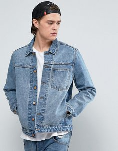 Read more about Asos denim jacket with one pocket in midwash blue - blue