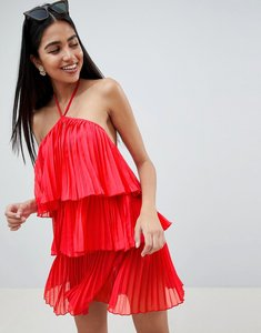 Read more about Asos design tiered pleated beach dress - red
