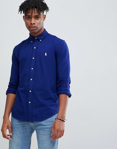 Read more about Polo ralph lauren slim fit pique shirt player logo button down in dark blue - fall royal